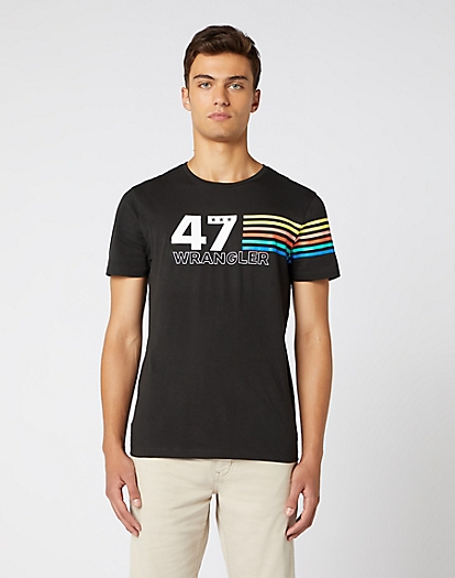 Short Sleeve Rainbow Tee in Faded Black