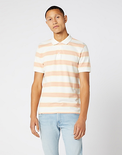 Short Sleeve Stripe Polo in Off White