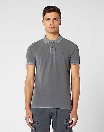 Short Sleeve Overdye Polo in Faded Black