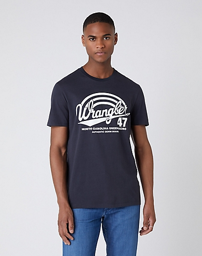 Short Sleeve Americana Tee in Blue Graphite