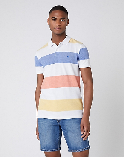 Short Sleeve Stripe Polo in White