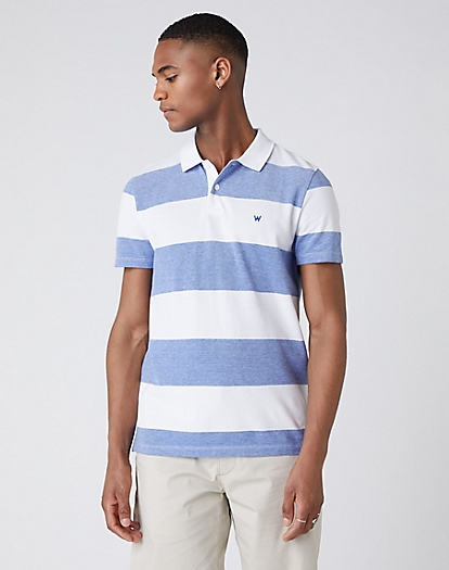 Short Sleeve Stripe Polo in Surf Blue