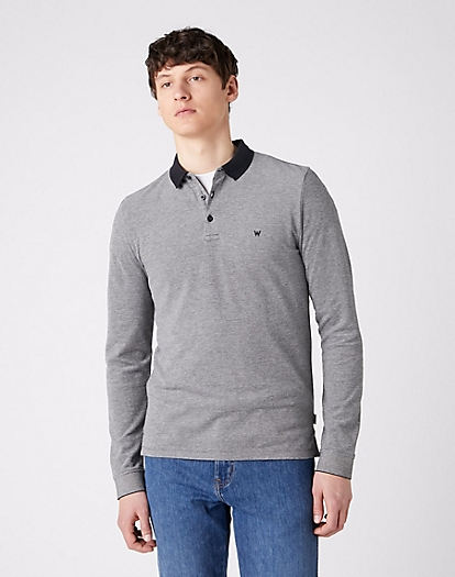 Long Sleeve Refined Polo in Black