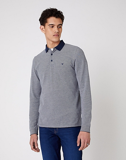 Long Sleeve Refined Polo in Navy