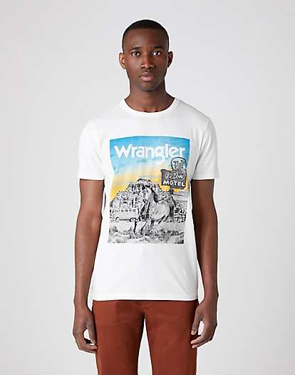 Short Sleeve Photo Tee in Off White