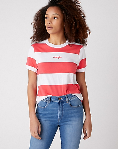 Striped Tee in Paradise Pink