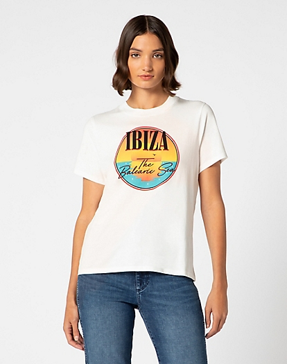Ibiza Graphic Print Tee in Off White