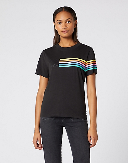 Logo Rainbow Stripe Tee in Faded Black