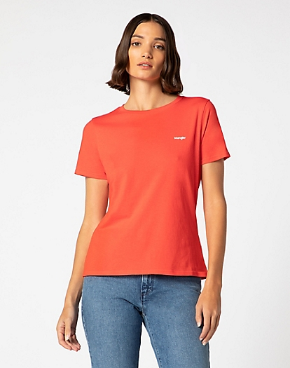 Logo Tee in Bittersweet Red