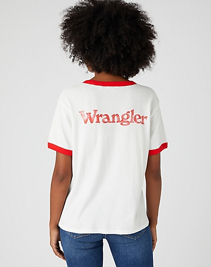 Relaxed Ringer Tee in Flame Red