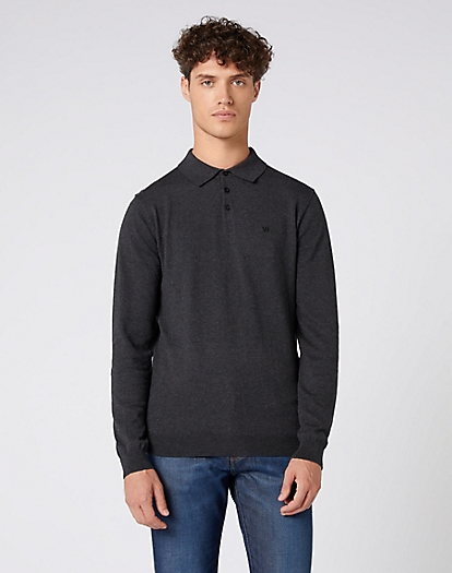 Polo Knit in Dark Grey Mel