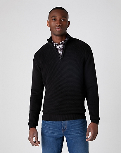 Half Zip Knit in Black