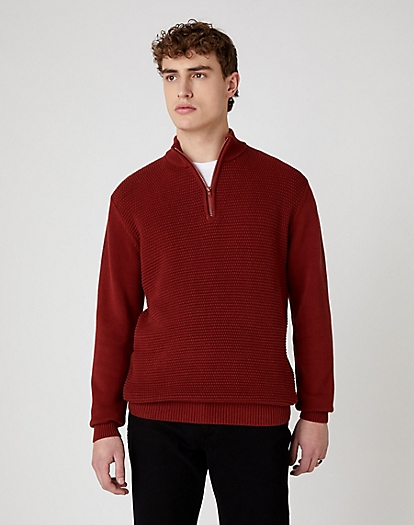 Half Zip Knit in Russet Brown
