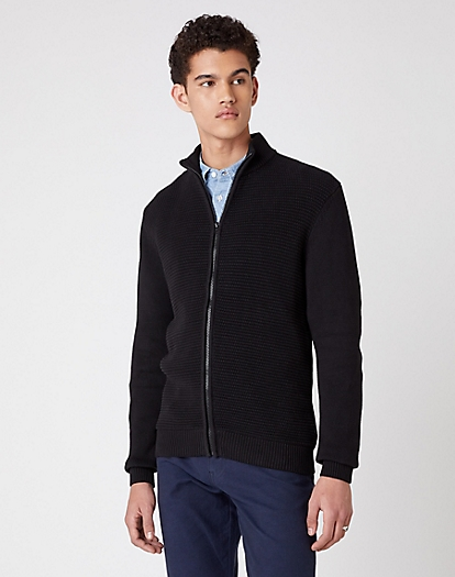 Full Zip Knit in Black