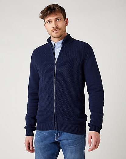 Full Zip Knit in Navy