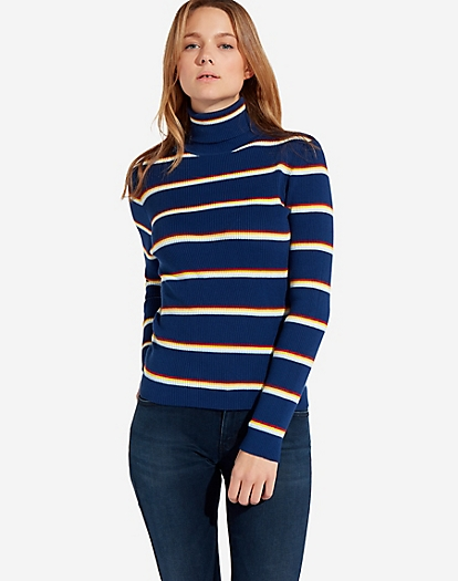 Turtle Neck Knit in Blue Depths