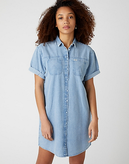 Denim Shirt Dress in Light Indigo