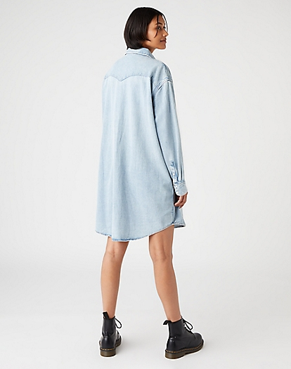 Denim Western Dress in Light Indigo