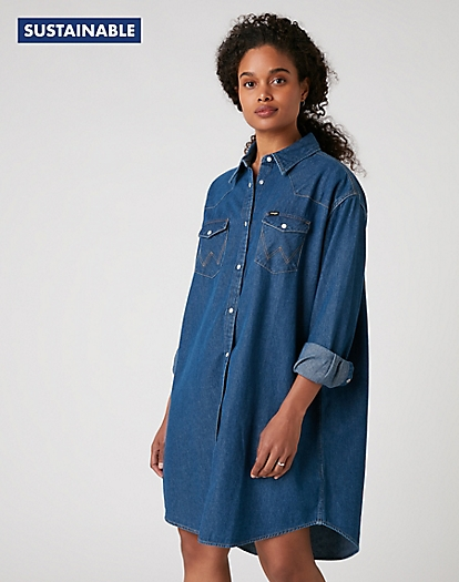 Denim Western Dress in Mid Indigo