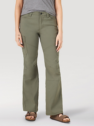 Cargo Bootcut Trousers in Dusty Olive