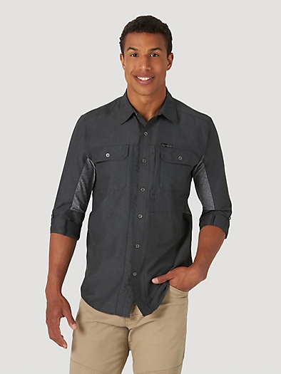 All Terrain Gear by Wrangler® Men's Mix Material Shirt in Black