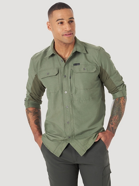 ALL TERRAIN GEAR™ BY WRANGLER® MEN'S MIX MATERIAL SHIRT IN DUSTY OLIVE