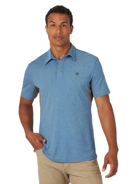 ALL TERRAIN GEAR™ BY WRANGLER® MEN'S PERFORMANCE POLO SHIRT IN MOROCCAN BLUE