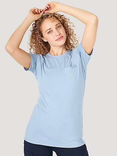 Short Sleever Pocket Tee in Ashley Blue